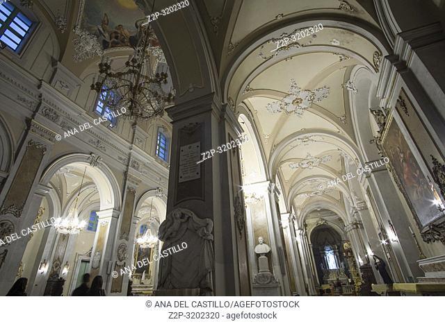 Collegiate basilica church Catania by twilight, Sicily, Italy