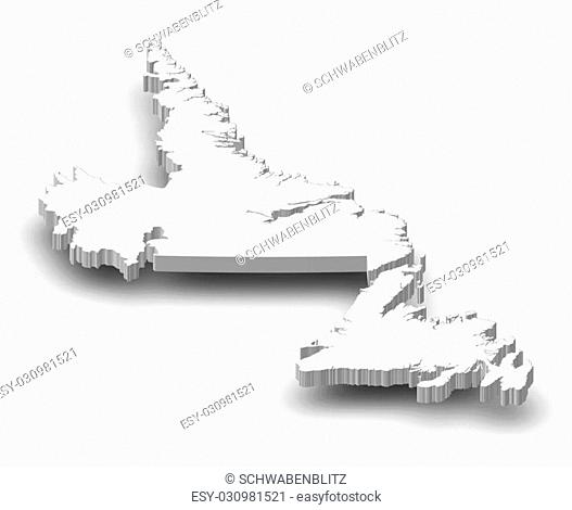 Map of Newfoundland and Labrador, a province of Canada, as a gray piece with shadow