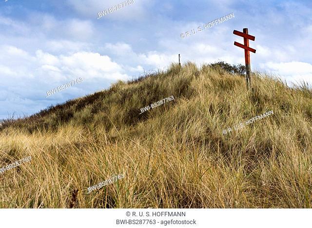 wooden post in dunes, Germany, Lower Saxony, East Frisia, Spiekeroog