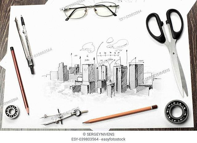Architectural hand drawn project with set of tools