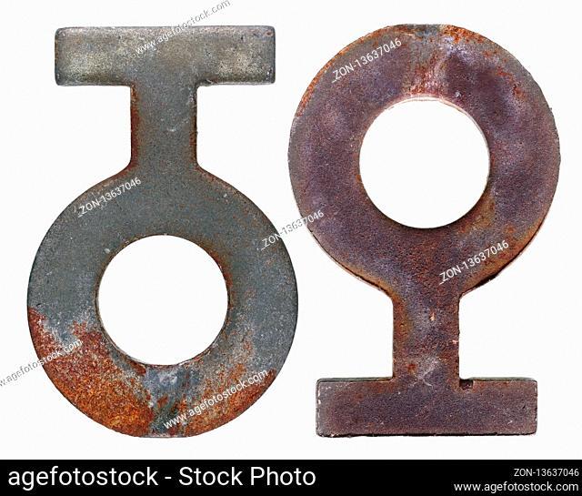Rusty retro vintage iron hook for clothesline. Isolated on white macro studio set