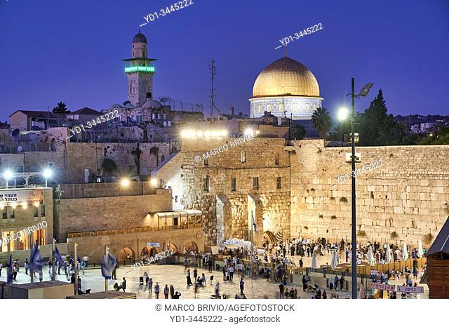 Jerusalem Israel. Dome of the rock, temple mount and wailing wall at sunset