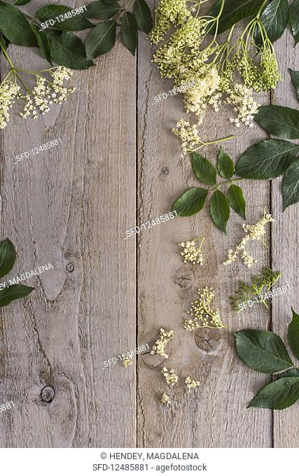 Elderflowers on a wooden board