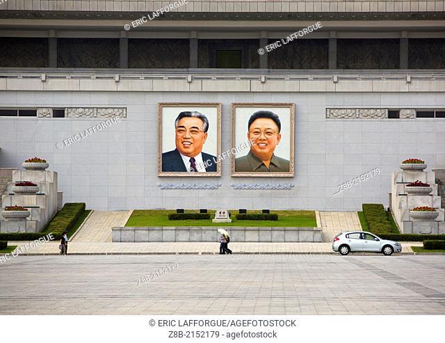 Kim Il Sung And Kim Jong Il Giant Portraits On Kim Il Sung Square, Pyongyang, North Korea