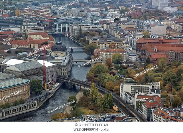 Germany, Berlin, Museumsinsel and Spree River seen from above