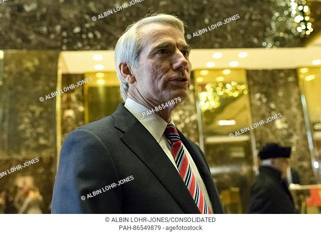 United States Senator Robert Portman (Republican of Ohio) is seen upon his arrival at Trump Tower in New York, NY, USA on December 14, 2016
