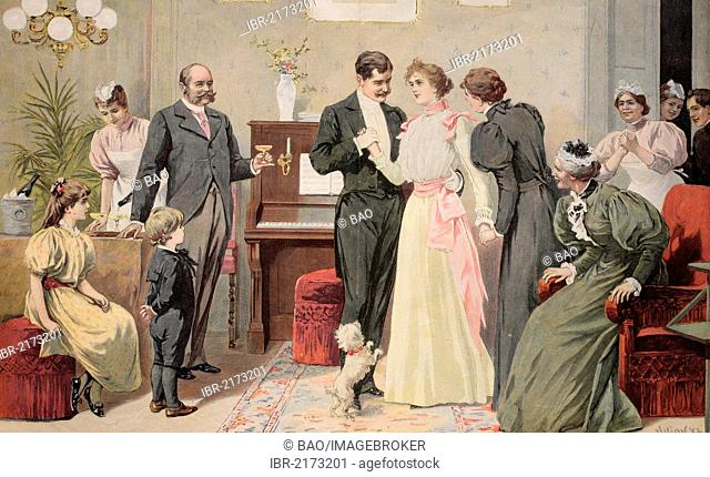 Bride and groom exchanging wedding vows, historical engraving, circa 1885