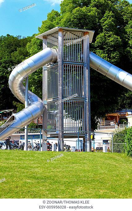 Modern pipe slide made ??of stainless steel