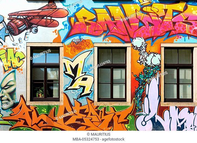 Dresden, Neustadt, facade, painted, graffiti