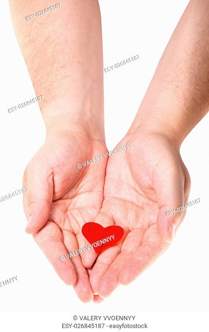 one red heart on male palms isolated on white background
