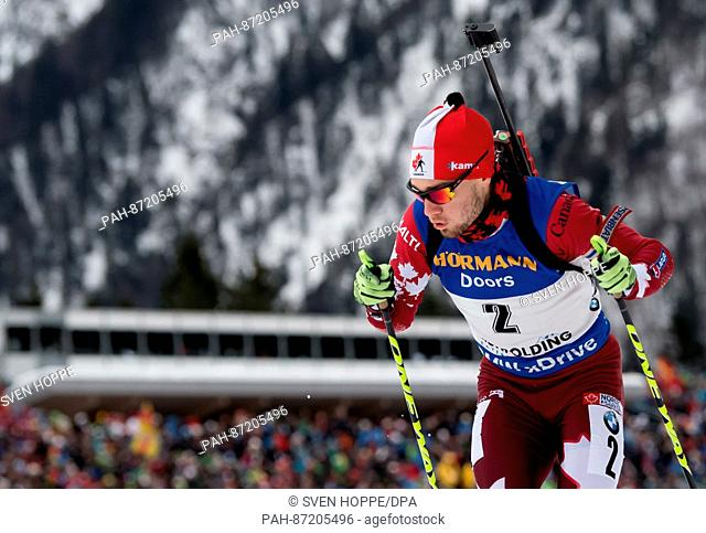 The biathlon athlete Christian Gow from Cananda participates in the men's 10 km sprint within the Biathlon Worldcup at the Chiemgau Arena in Ruhpolding, Germany