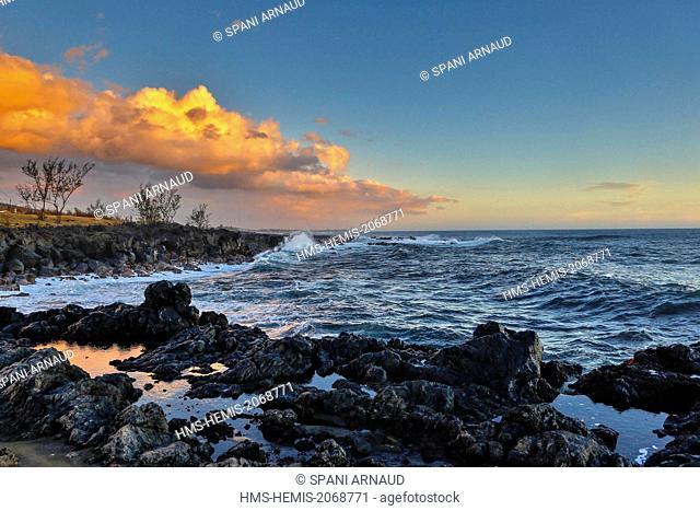 France, Reunion Island, Etang Sale les Bains, marine natural landscape horizontal view of coastline swell at sunset
