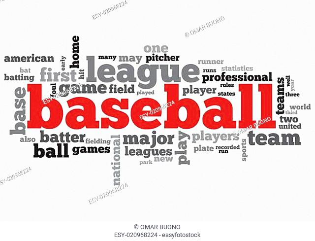 Baseball Concept Design Word Cloud on White Background
