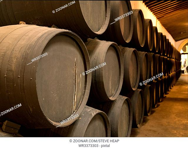 Row of stacked oak casks or barrels along wall of winery for aging sherry or port