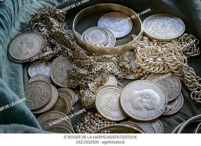 Silver coins and jewellery used by Silversmith to create jewellery. Ibo Island. Mozambique