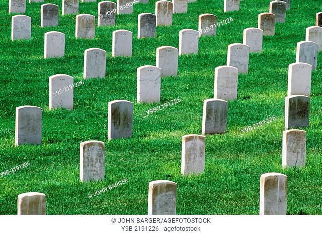 Headstones at cemetary, Little Bighorn Battlefield National Monument, Montana, USA