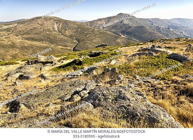 Valdemartin hill and Iron Heads from Maliciosa peak in the Sierra de Guadarrama. Madrid. Spain