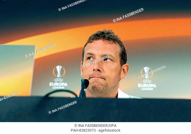 Coach of Schalke, Markus Weinzierl, speaks at a press conference before the match of PGC Nice against FC Schalke 04, Group I, group stage
