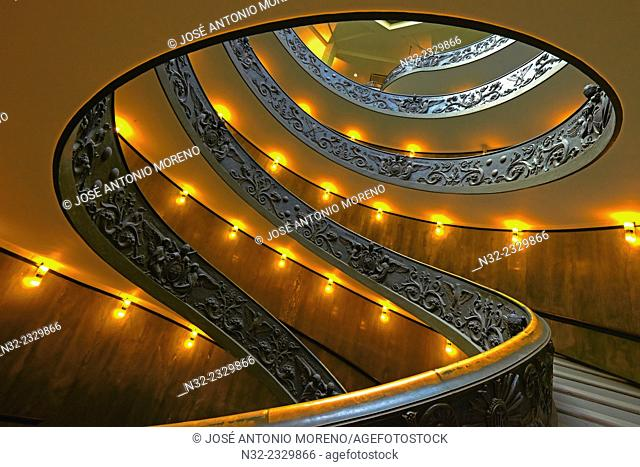 Vatican, Spiral stairs, Giuseppe Momo spiral staircase, Vatican Museums, Vatican City, Rome. Lazio, Italy