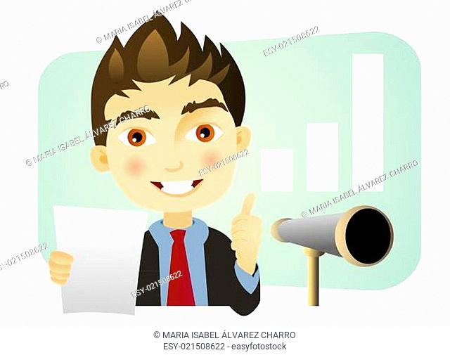 Bussiness man with telescope