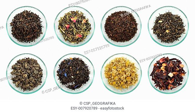 Assortment of dried tea leaves