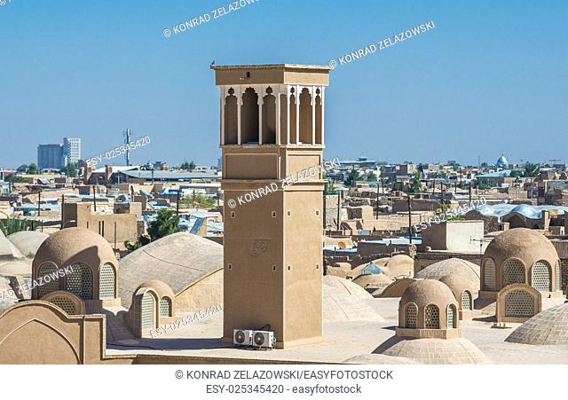 Aerial view with characteristc wind catcher tower in Kashan, Iran