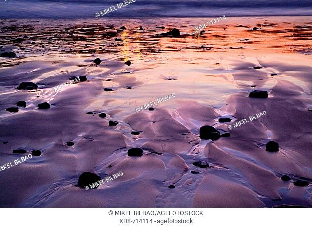 Beach at sunset, Dunas de Liencres Natural Park, Cantabria, Spain