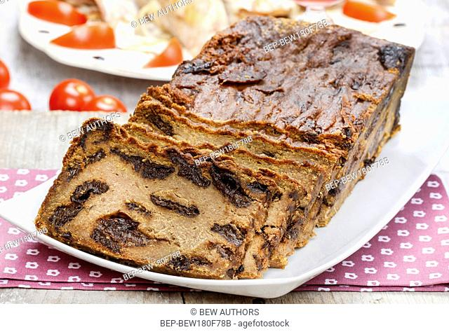 Traditional delicious pate stuffed with plums