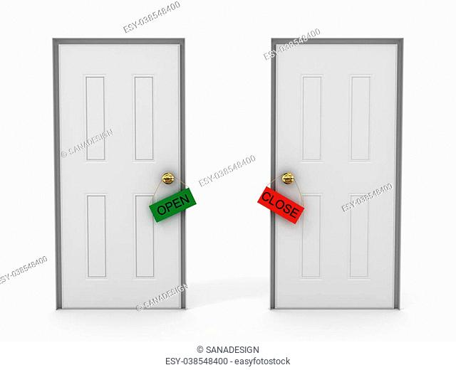 Doors with tags open and close.3D