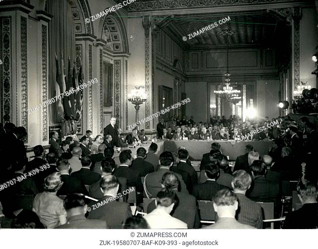 Jul. 07, 1958 - Bagdad pact council meeting at Lancaster house. Prime minister makes opening speech. Mr. Macmillan to is morning opened the meeting of the...