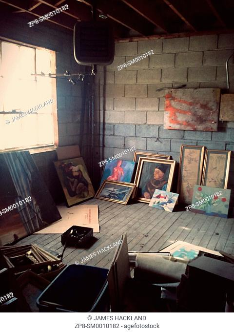 Paintings found in an attic storage space inside an abandoned building in Vaughan, Ontario, Canada. This building has since been demolished but a property...