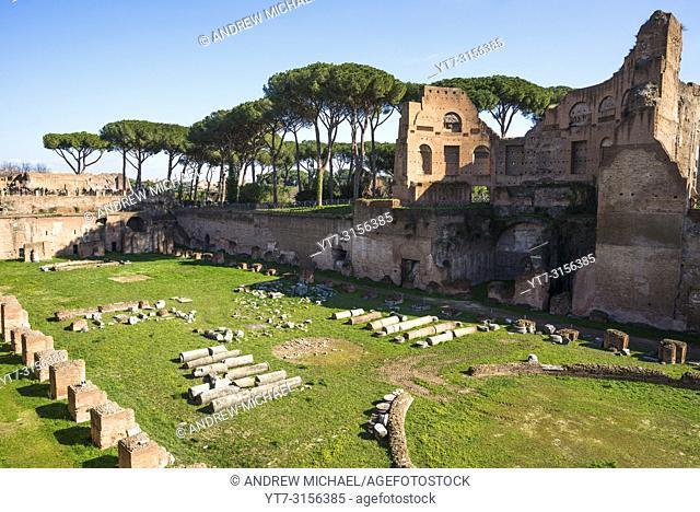 "The Stadium of Domitian (Stadio di Domiziano) or """"Circus Agonalis"""" on the Palatine (Palatino) hill, Rome, Italy"