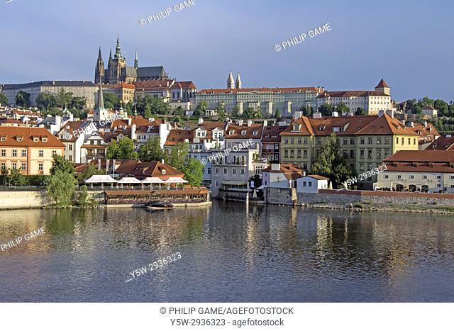 Prague Castle or Hradcany, beyond the Vltava or Moldau river. Praha, Czech Republic