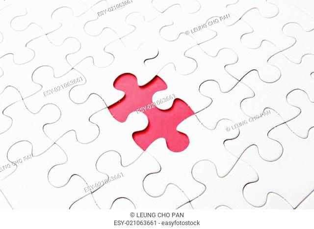 puzzle with missing parts, which are connected