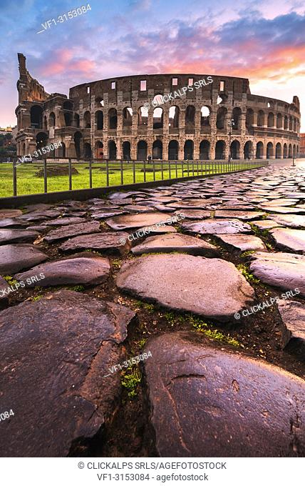 Rome, Lazio, Italy. Colosseum at winter sunrise