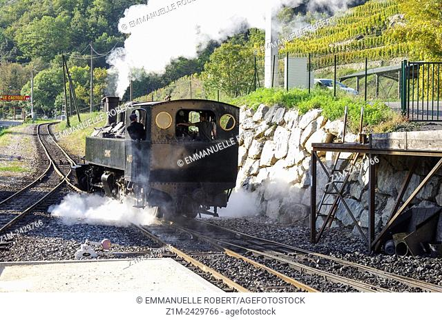 Mallet locomotives, route of the Train de l'Ardèche, a genuine historical and cultural heritage, The Doux Georges, Ardeche, Rhone ALpes, France, EUrope