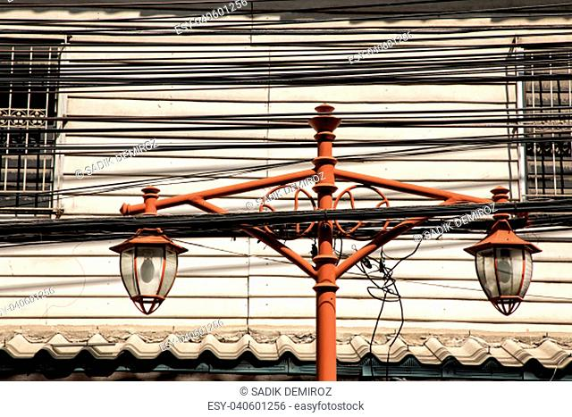 Close up shot of electricity power line in Bangkok, Thailand