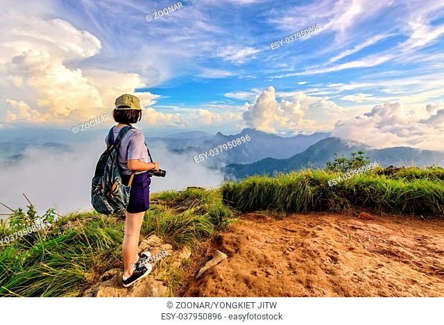 Tourist teen girl on Phu Chi Fa mountain