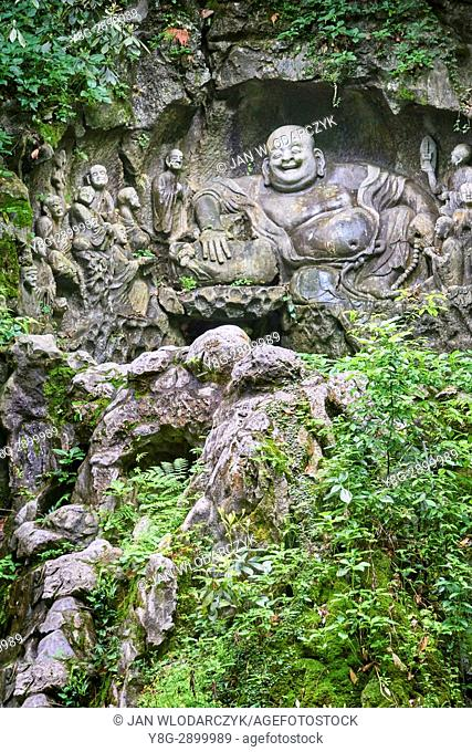 Laughing Buddha at Lingyin Temple, Hangzhou, China