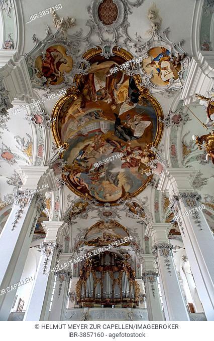 Rococo-style ceiling frescoes and organ, St. George's Abbey, Isny, Allgäu, Bavaria, Germany