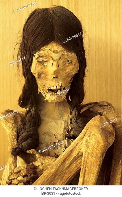 CHL, Chile, Atacama Desert: Miss Chile, the mummy of a woman, La Paige Museum in San Pedro de Atacama