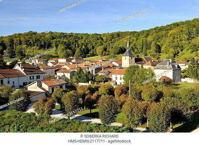 France, Haute Marne, Cirey sur Blaise, view of the village from the castle