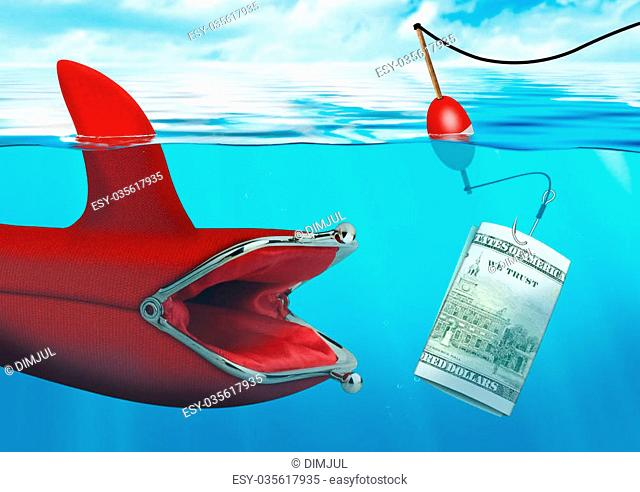 Business risk concept, money bait catch the purse