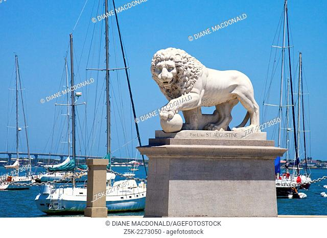 The Bridge of Lions, St. Augustine Florida, is guarded on each side of the road by a sculpture of a marble Medici lion. This Medici Lion is on the south side of...