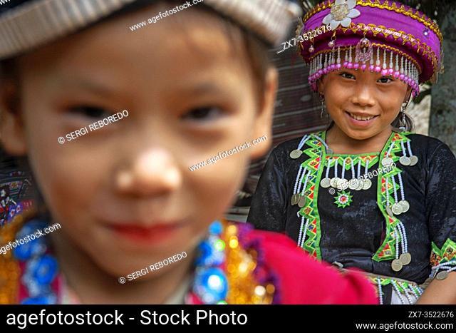Hmong and Khmu children near Luang Prabang Laos