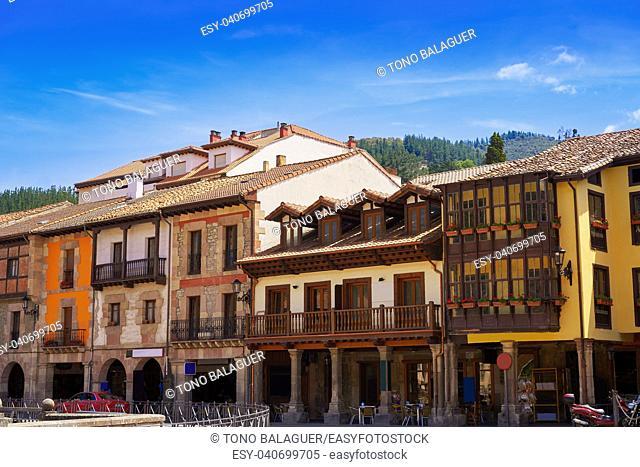Potes village facades in Cantabria of Spain