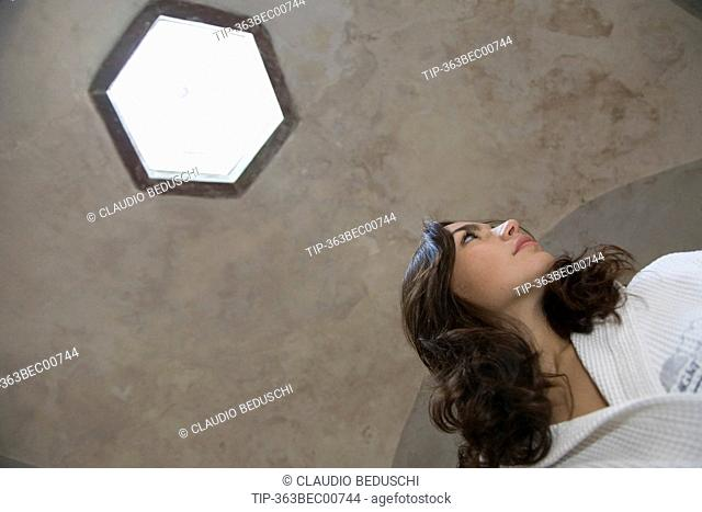 Italy, Tuscany, Lucca. Woman at Bagni di Lucca Jean Varraud thermal center