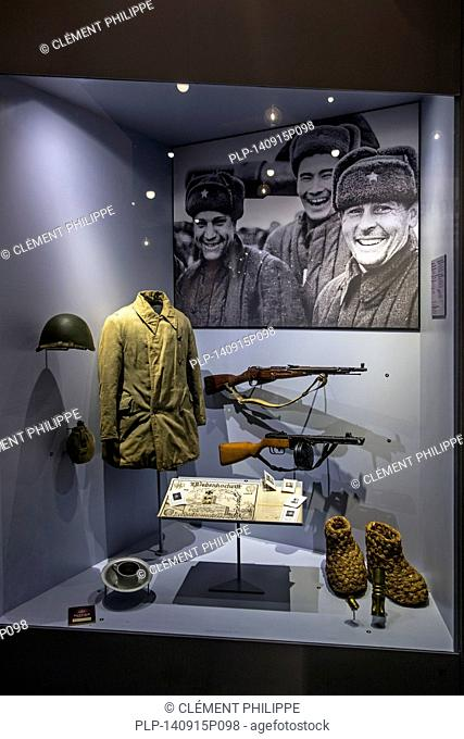 Russian uniform and arms in the Bastogne War Museum devoted to the Second World War Two Battle of the Bulge in the Belgian Ardennes, Belgium
