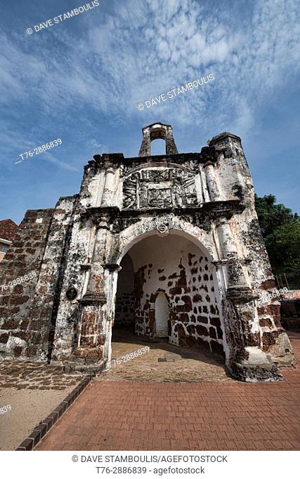 Ruins of the A Famosa Portuguese fortress, Malacca, Malaysia