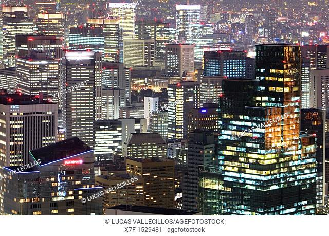 Detail of skyline at north of the city Tokyo, Japan, Asia
